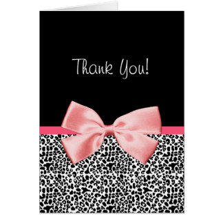 Trendy Thank You Leopard Print With Pink Ribbon Card