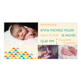 Trendy Tribal & Arrow Birth Announcement Photo Card Template