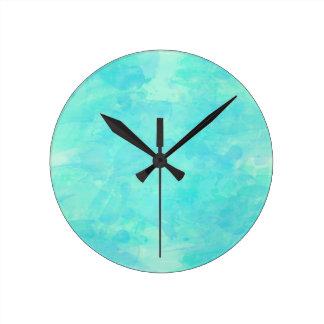 Trendy Tropical Aqua Watercolor Paint Background Wall Clocks