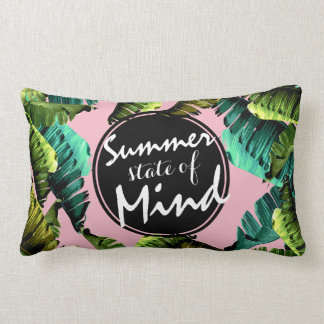 Trendy Tropical Banana Leaves Summer State of Mind Lumbar Pillow