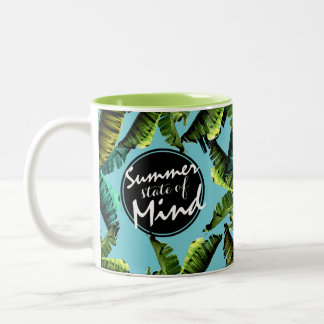 Trendy Tropical Banana Leaves Summer State of Mind Two-Tone Coffee Mug