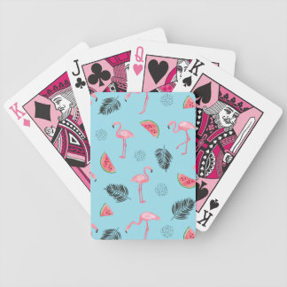 Trendy Tropical Flamingo & Watermelon Pattern Bicycle Playing Cards