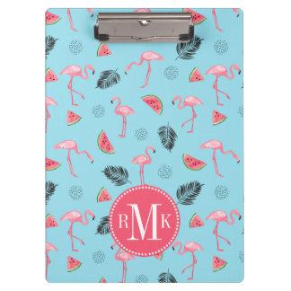 Trendy Tropical Flamingo & Watermelon Pattern Clipboard