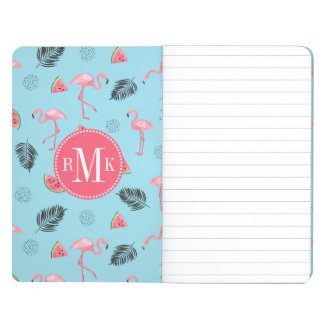 Trendy Tropical Flamingo & Watermelon Pattern Journal