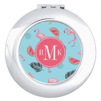 Trendy Tropical Flamingo & Watermelon Pattern Makeup Mirror