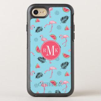 Trendy Tropical Flamingo & Watermelon Pattern OtterBox Symmetry iPhone 8/7 Case