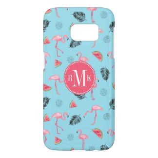 Trendy Tropical Flamingo & Watermelon Pattern Samsung Galaxy S7 Case