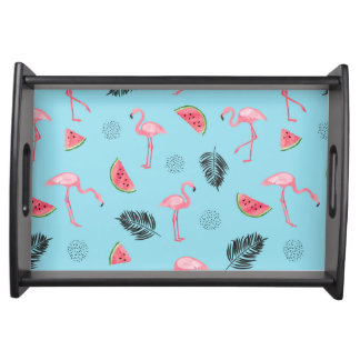 Trendy Tropical Flamingo & Watermelon Pattern Serving Tray
