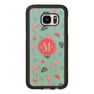 Trendy Tropical Flamingo & Watermelon Pattern Wood Samsung Galaxy S7 Case