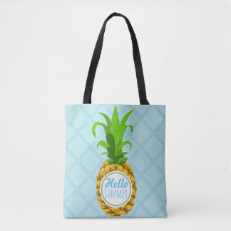 Trendy Tropical Pineapple Hello Summer Tote Bag