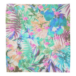 Trendy tropical teal pink floral flamingo bandana