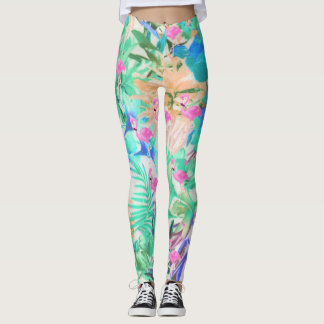 Trendy tropical teal pink floral flamingo leggings