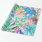 Trendy tropical teal pink floral flamingo wrapping paper