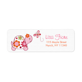 Trendy Tropical Turtle Baby Shower Address Labels