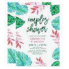 Trendy Tropical Watercolor Couples Shower Card