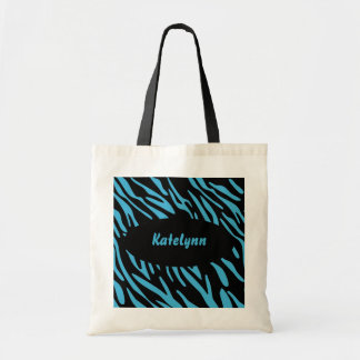 Trendy Turquoise and Black Zebra Stripes Bag