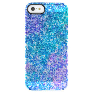 Trendy Turquoise-Blue & Pink Glitter Clear iPhone SE/5/5s Case
