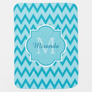 Trendy Turquoise Chevron Baby Name and Monogram Baby Blanket