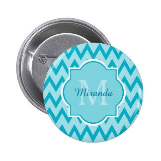 Trendy Turquoise Chevron Zigzag Name and Monogram 2 Inch Round Button
