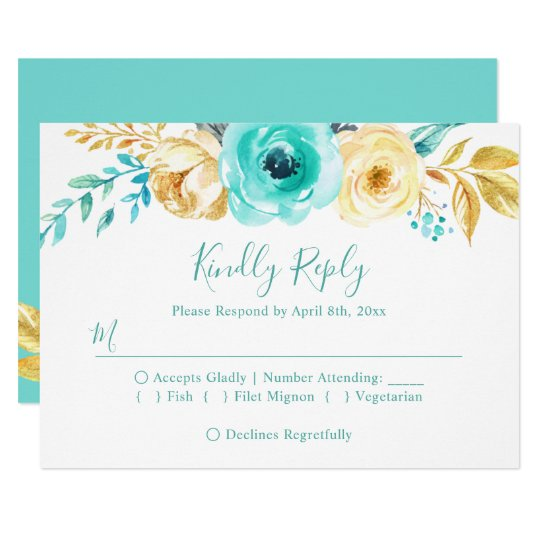 Trendy Turquoise Gold Floral Wedding RSVP Reply Card