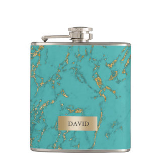 Trendy Turquoise & Gold Marble Texture Flask