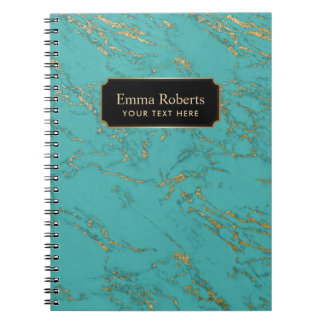 Trendy Turquoise & Gold Marble Texture Note Book