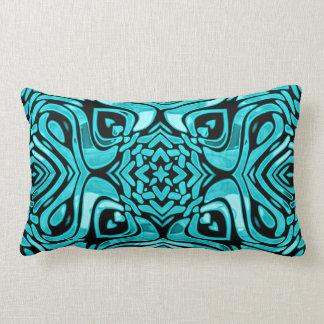 Trendy Turquoise Teal Blue African Mosaic Pattern Lumbar Pillow