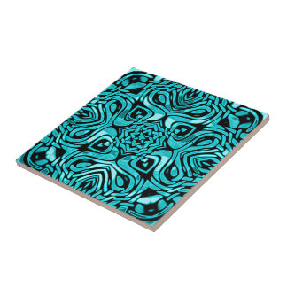 Trendy Turquoise Teal Blue African Mosaic Pattern Tile