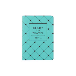 Trendy Turquoise with Chic Black Dots Pattern Passport Holder
