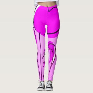Trendy Two Tone Pink & Purple Heart Flowers Leggings