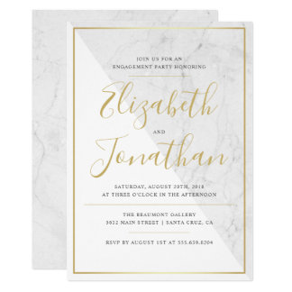 Trendy Typography | Chic Marble Engagement Party Card