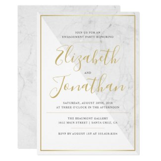 Trendy Typography | Chic Marble Engagement Party Invitation