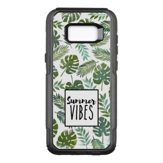 Trendy typography summer vibes leaves pattern OtterBox commuter samsung galaxy s8+ case
