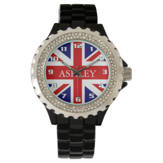 Trendy U.K Flag with Her Name Monogram Stylish Watch