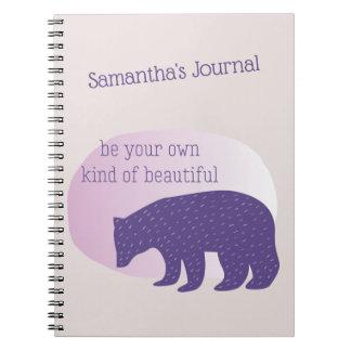 Trendy Ultra Violet Purple Scandinavian Style Bear Notebook