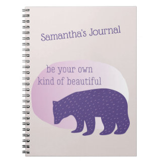 Trendy Ultra Violet Purple Scandinavian Style Bear Notebooks