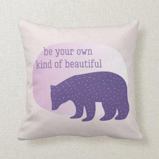 Trendy Ultra Violet Purple Scandinavian Style Bear Throw Pillow