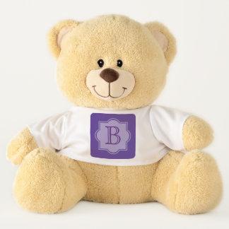 Trendy Ultra Violet Simple Logo Purple Monogram Teddy Bear