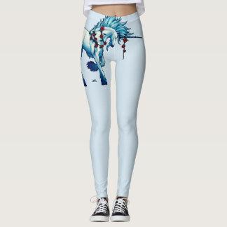 Trendy Unicorn Fantasy On Light Blue Leggings