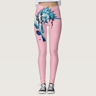Trendy Unicorn Fantasy On Pink Leggings