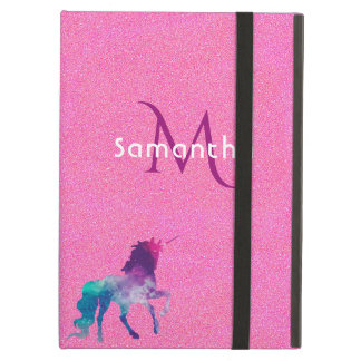 Trendy unicorn in purple on pink glitter monogram iPad air cover