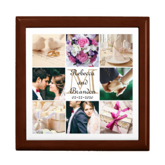 Trendy Unique Wedding Monogrammed Photo Collage Gift Box
