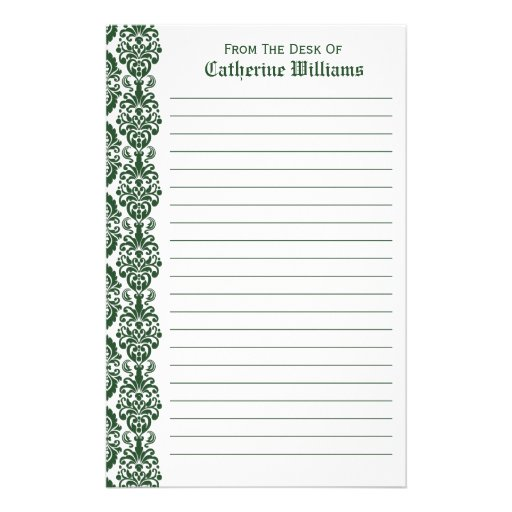 Trendy Victorian Green Lace Damask Side Border Stationery Paper