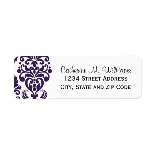 Trendy Victorian Purple Lace Damask Return Address Label
