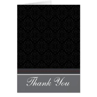 Trendy Vintage Black Damask Thank You Card