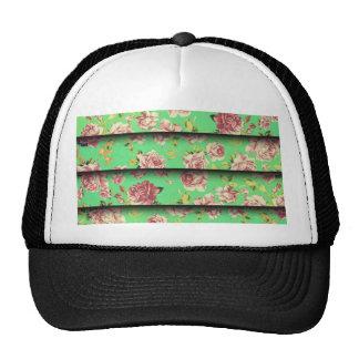 Trendy Vintage Elegant Teal Pink Floral Pattern Mesh Hat