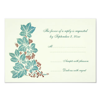 Trendy vintage floral stamp wedding rsvp card