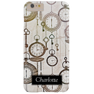 Trendy Vintage Pocket Watches & Keys Custom Name Barely There iPhone 6 Plus Case