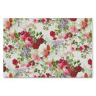 Trendy Vintage Red and Pink Floral Print Tissue Paper