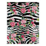trendy vintage roses and zebra stripes pattern